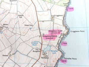 twolocalexplorers section of highlighted Ordnance Survey map showing Cruggleton Castle in Dumfries and Galloway