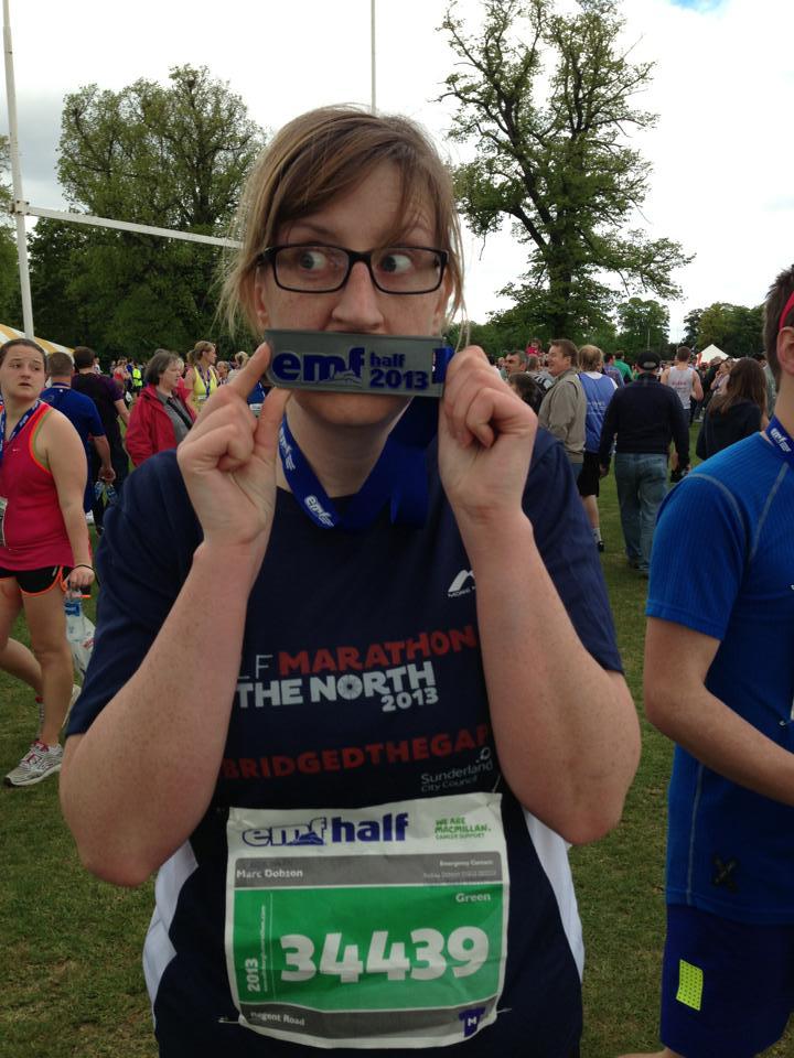 twolocalexplorers Caz at the end of the 2013 Edinburgh Running Festival half marathon
